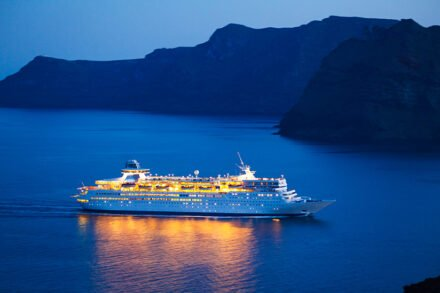 Luxury Cruise Ship at Sunset