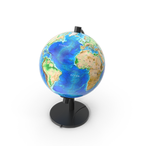 Globe showing Atlantic Ocean Africa South America