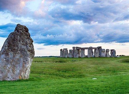 Dusk over Stonehenge near Salisbury in the Wilshire countryside