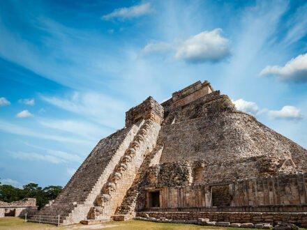 Ancient mayan pyramid in Uxmal, Mexico